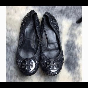 Tory Burch Black Sequin Flats 6.5